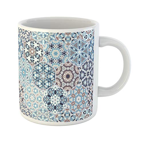 Semtomn Funny Coffee Mug Rich of Hexagonal Ceramic Tiles in Shades Blue 11 Oz Ceramic Coffee Mugs Tea Cup Best Gift Or Souvenir