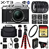 FUJIFILM X-T3 Mirrorless Digital Camera (Silver) with 18-55mm Lens + Flexible Tripod + UV Protection Filter + Professional Case + Card Reader - International Version
