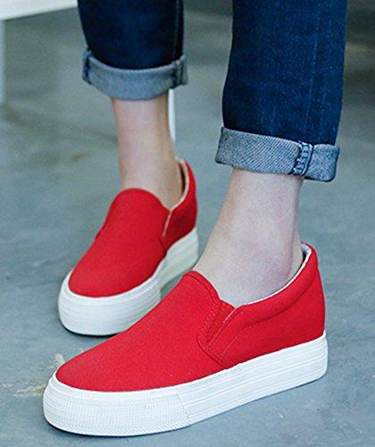 Idifu Kvinna Mode Kil Plattform Halka På Kanfasgymnastikskor Loafers Med Klackar Inuti Röd