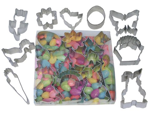 Basket Cookie Cutter - R&M International 1967-02 Easter Cookie Cutters, Egg, Bunny, Duck, Chick, Butterfly, Carrot, Daisy, Tulip, Basket, 9-Piece Set
