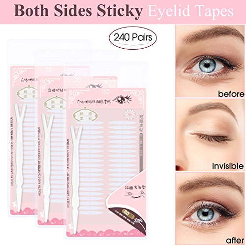 240 Pairs Invisible Double Side Sticky Eyelid Tapes Stickers, Made of medical-use adhesive fiber, Instant Eyelid Lift Without Surgery, Perfect for Hooded, Droopy, Uneven, Mono-eyelids (Lift Eyelid Surgery)