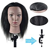 Ba Sha 100% Real Hair Mannequin Head Hairdresser Training Head Manikin Cosmetology Doll Head with Free Table Clamp