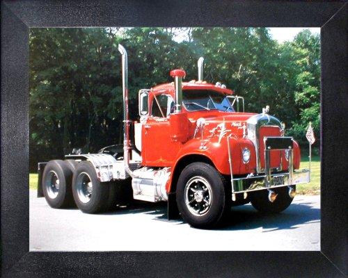 Red Mack Semi Big Rig Diesel Truck Wall Decor Framed Picture Art Print (16x20) (Semi Truck Wall Art)