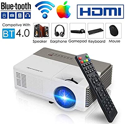 HWUKONG Mini proyector, Keystone Correction, WiFi Bluetooth Video ...