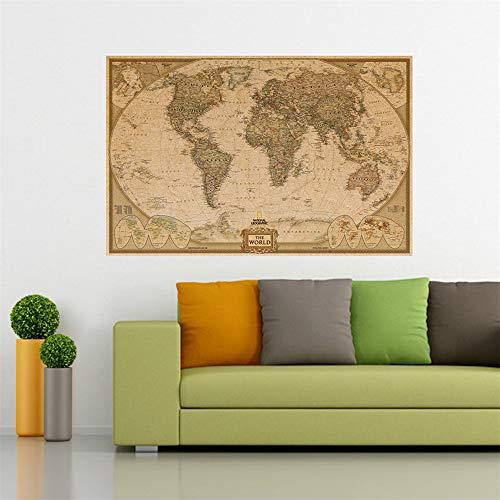 ufengke Vintage Mapa del Mundo Cartel de Papel Kraft para Sala de Estar Aula, 69 x 51.5cm (27.17'' x 20.28'')
