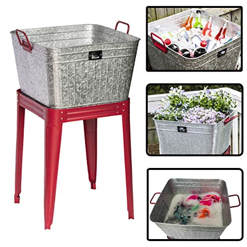 Backyard Expressions - 17 Gallon Metal Galvanized Tub - Can be Used as a Large Party Beverage Tub, Wash Tub or a Galvanized Planter for ()