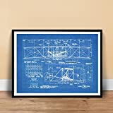 WRIGHT FLYER FIRST AIRPLANE 1903 BLUEPRINT ART 18x24 PRINT POSTER BROTHERS ORVILLE WILBUR FLYING UNFRAMED, Matte Paper