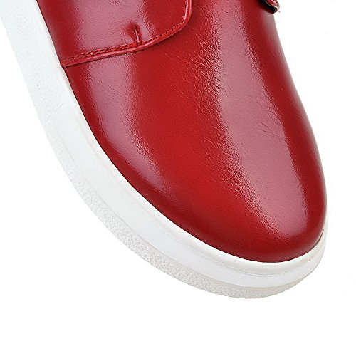 Loop Boots Hook Low Material And Top Heels Soft Red Low Toe Women's Closed Round WeenFashion wqOX11
