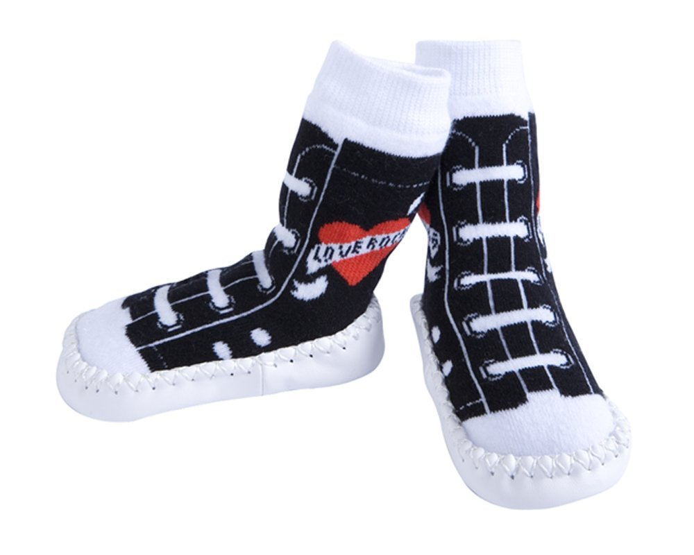 JazzyToes Slippers- Rock & Roll Love Rocks Sneakers, Black/White, 6-12 Months