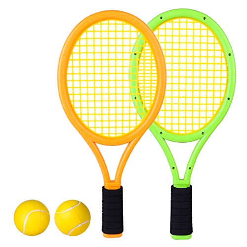 RuiyiF Kids Tennis Racket Set with Ball, Plastic Tennis Racquet for Children Outdoor Toys for Toddlers Age 3-5