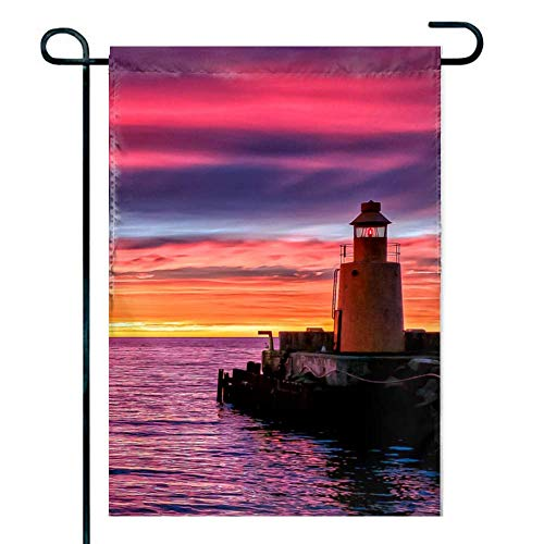 FEDDIY 12 x 18 Inch Garden Flag - Double Sided Holiday Decorative Outdoor House Flag Lighthouse Sunset Purple
