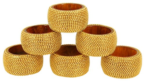 Aluminum Napkin Rings - ShalinIndia Handmade Indian Gold Aluminum Ball Chain Wooden Napkin Ring Set - Set of 6 Napkin Rings - Industrial Chic Look - Made in India