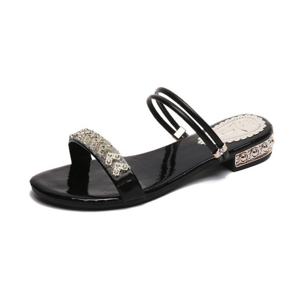 LJO Frauen Hausschuhe Flache Schuhe Sommermode Runden Kopf Rutschfeste Asakuchi Sandalen  UK/EU35|Black