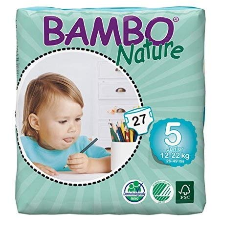Bambo Nature Eco Friendly Baby Diapers Classic for Sensitive Skin, Size 5 (26-49 lbs), 324 Count (2 Cases of 162), Off-White