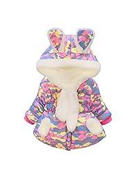 Baby Girls Infant Winter Jackets Coats Hooded Winter Bunny Ear Fleece Outerwear