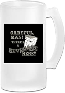 Printed 16oz Frosted Glass Beer Stein Mug Cup - Big Lebowski Careful Beverage - Graphic Mug
