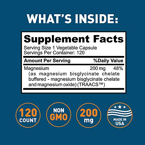 Dr. Tobias Magnesium Bisglycinate - Buffered Chelate Complex Supplement, 200 mg, 120 Capsules