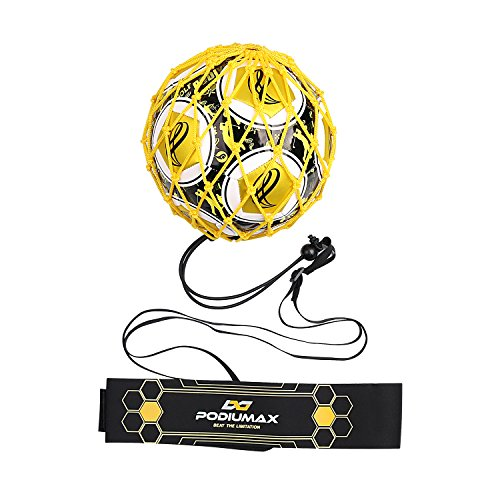 PodiuMax Hands-Free Soccer Kick/Throw Trainer, New Ball Locked Net Design, Adjustable Waist Belt & Cord Suit for All Levels (Fits Ball Size 3, 4, ()