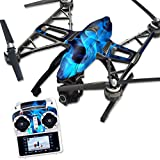 MightySkins Protective Vinyl Skin Decal for Yuneec Q500 & Q500+ Quadcopter Drone wrap cover sticker skins Blue Flames