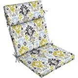 Outdoor Patio Dining Chair Cushion Filled with 100% Superior Polyester with 4 Sets of Ties (Aquamarine Kenda Ikat)