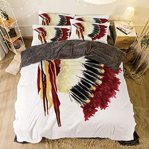All Season Flannel Bedding Duvet Covers Sets for Girl Boy Kids 4-Piece Full for bed width 6.6ft Pattern by,Native American,Original Ethnic Symbolic Mystic Eagle Feather Headdress Indian Life Style,W