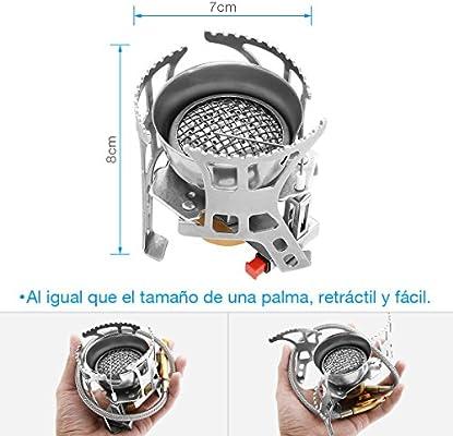 isYoung Estufa de Gas Quemador Hornillo Camping de Butano Horno de ...