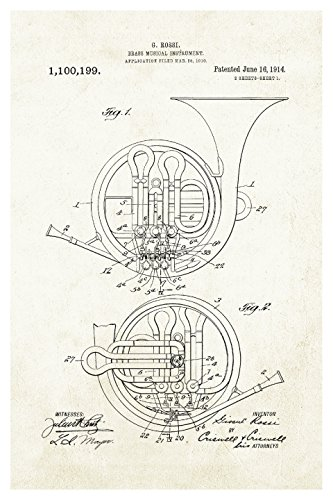 Wall Horn French - ArtsyCanvas French Horn - Aged Paper - Instrument Patents - 16x24 Matte Poster Print Wall Art