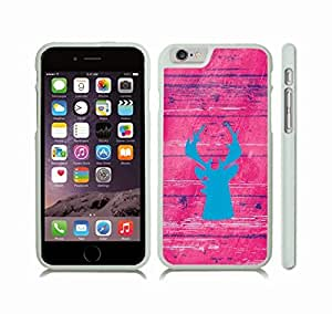iStar Cases? iPhone 6 Plus Case with Blue Moosehead Silhouette on a Pink Saturated Wooden Background , Snap-on Cover, Hard Carrying Case (White)
