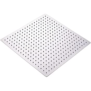 Oulantron Stainless Steel 16 Inch Rainfall Shower Head Bathroom Square Top  Sprayer