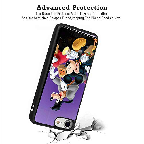 Matte Case Fit for Apple iPhone 8 (2017) and iPhone 7 (2016) (4.7in) Halloween Mickey Mouse and Minnie Mouse Goofy Donald Duck Pluto Disney Halloween Wallpaper]()
