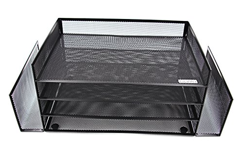 (EasyPAG 4 Tier Legal Size Desk File Organizer Tray with 2 Upright Mail Letter Sorter,Black)