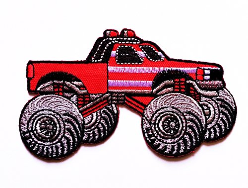 Red Bigfoot Monster Truck Patch Car logo Patch cartoon kid patch Cartoon Movie patch Kid Baby Boy Jacket T Shirt Patch Sew Iron on Embroidered Symbol Badge Cloth Sign Costume - Bigfoot Costume Diy