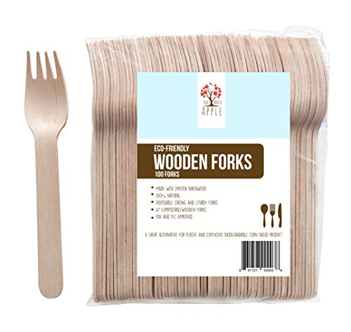 "UPC 861727000038, Disposable Wooden Forks, 6"" Length Eco-Friendly Biodegradable Compostable Birchwood (Pack of 100) GO GREEN!"