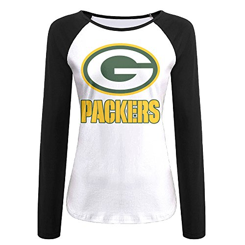 (Creamfly Womens Green Bay Football Team Long Sleeve Raglan Baseball Tshirt)