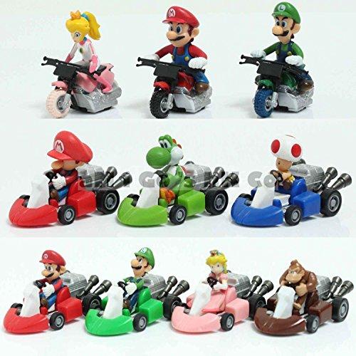 10pcs set Takara Tomy Super Mario Kart Luigi Yoshi Toad DK Figures Toy mini car