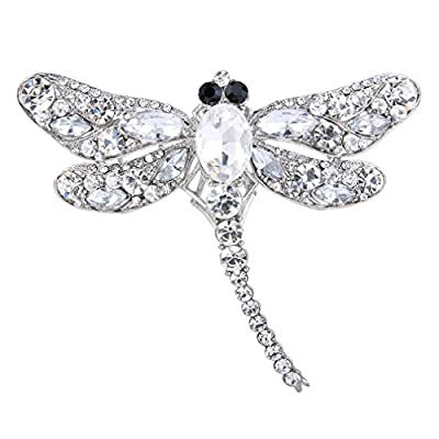 UNKE Elegant Dragonfly Bird Brooch Pin Crystal Rhinestone Animal Party Jewelry