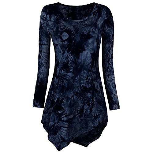 XOWRTE Women's Cotton O-Neck Tie Dyed Autumn Long Sleeve Tunic T-Shirt Blouse Tops
