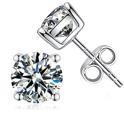 925 Sterling Silver Brilliance Princess Cut Cubic Zirconia 4 Prong Stud Earrings 7mm ()