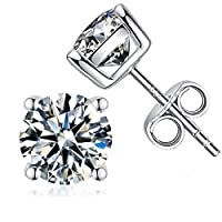 925 Sterling Silver Brilliance Princess Cut Cubic Zirconia 4 Prong Stud Earrings 5mm