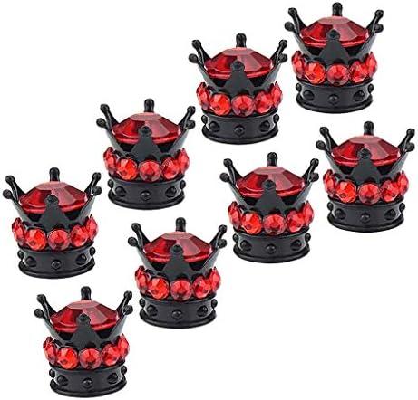 タイヤバルブキャップ ホイールバルブキャップ プラスチック クラウン型 赤い 使いやすさ 8個入り