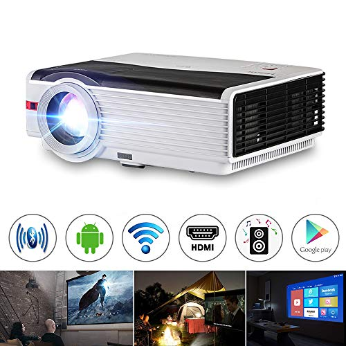 Wireless Smart TV Projector, by CAIWEI, Android 6.0 Wxga 5000 Lumen LCD WiFi Home Theater Cinema Projectors Support Full HD 1080P Airplay APPs HDMI VGA USB Audio Outdoor Games Movies Videos Projectors