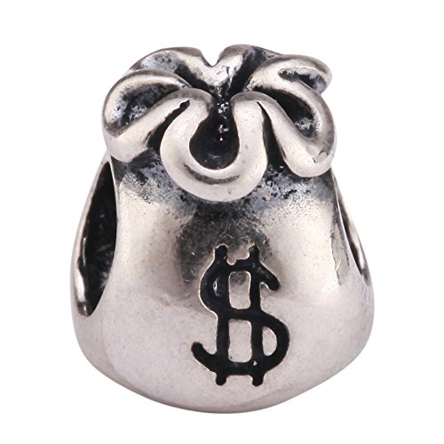 .925 Sterling Silver Bag Of Money Fits Pandora, Biagi, Troll, Chamilla and Many Other European Charm