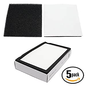 5-Pack Replacement Kenmore 11623513301 Vacuum HEPA & Foam Filter - Compatible Kenmore 86880, KC38KBRMZ000, EF-2 Filter & 86883, CF-1 Filter