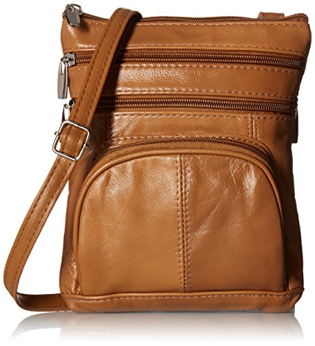 Roma Leathers Genuine Leather Multi-Pocket Crossbody Purse Bag (Leather Handbags Cross Body)