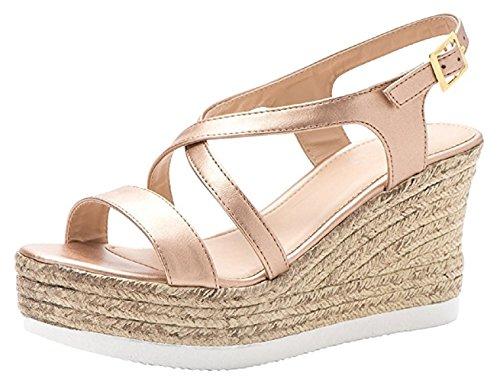 Strappy Wedge Platform Dress Shoes Sandal Crisscross Gold Rose Summer Slingback Women's Espadrille SXqaS