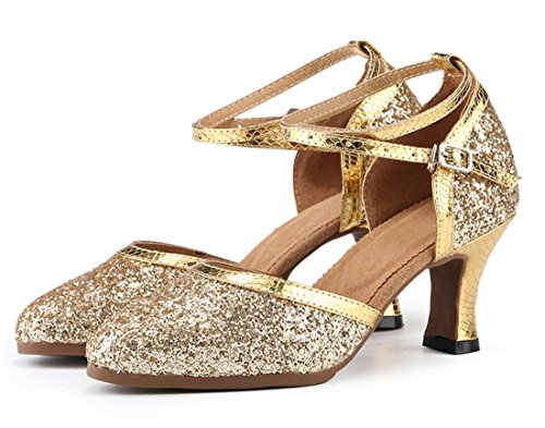 Toe 7cm Mid Heel Salsa MGM Synthetic Pumps Sole Prom Shoes Rumba Tango Party Closed Gold Modern Heel Latin Rubber Joymod Samba Formal Comfort Women's Ballroom Wedding Dance Glitter qnwr0PIFwp