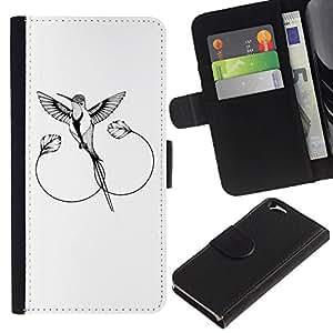 KLONGSHOP // Tirón de la caja Cartera de cuero con ranuras para tarjetas - El ruiseñor - Apple Iphone 6 //