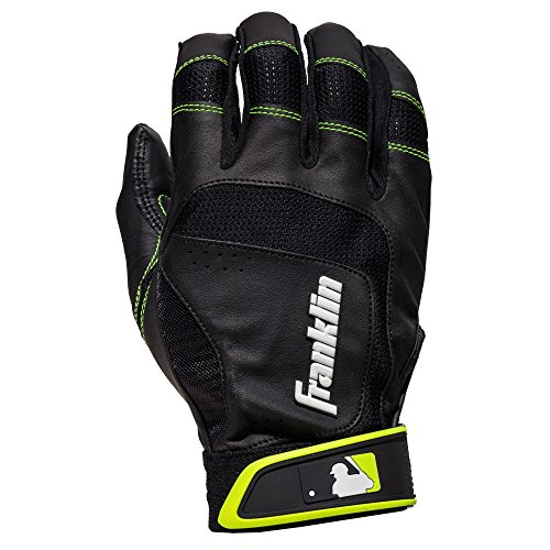 Franklin Sports Shok-Sorb Neo Batting Gloves Black/Optic Yellow Adult Large
