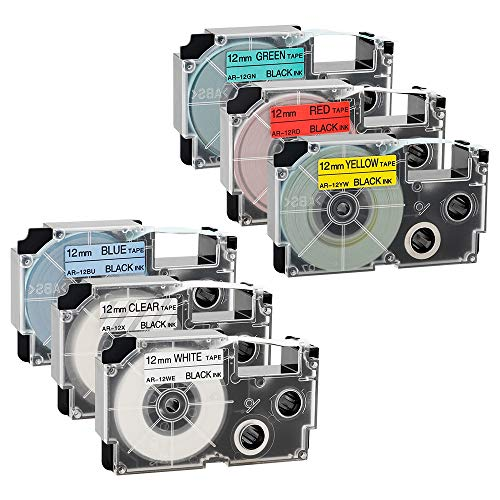 Label Maker Tape 12mm, Compatible with CASIO XR-12X XR-12WE XR-12RD XR-12BU XR-12YW XR-12GN for KL1500 KL2000 KL7000 KL7200 KL-100 KL120 KL60 KL-750B Label Maker (1/2