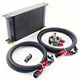 #6: LR Universal AN10 Engine Transmission Oil Cooler + Filter Relocation Kit (25 Row, Black)